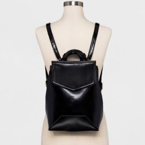 Black Faux Leather Backpack/Crossbody